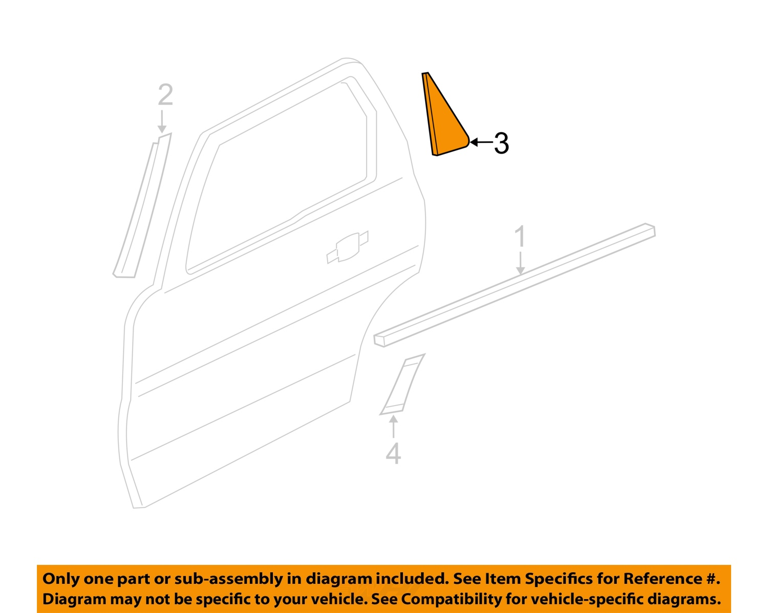 Ford oem exterior rear applique window trim panel right for Parts of an exterior window