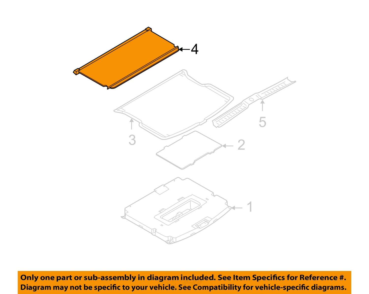 Ford oem 08 12 escape interior rear luggage compartment cover 9l8z7845440ab ebay for Ford interior replacement parts
