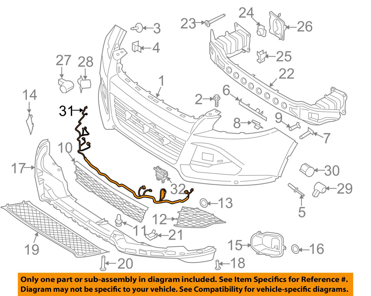New Oem Parking Aid  U0026 Fog Light Wiring Harness 2013 Ford Escape  Dv6z