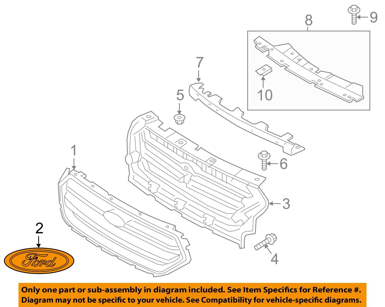 ford oem escape front bumper grille grill-emblem badge ... ford e series front bumper diagram #4