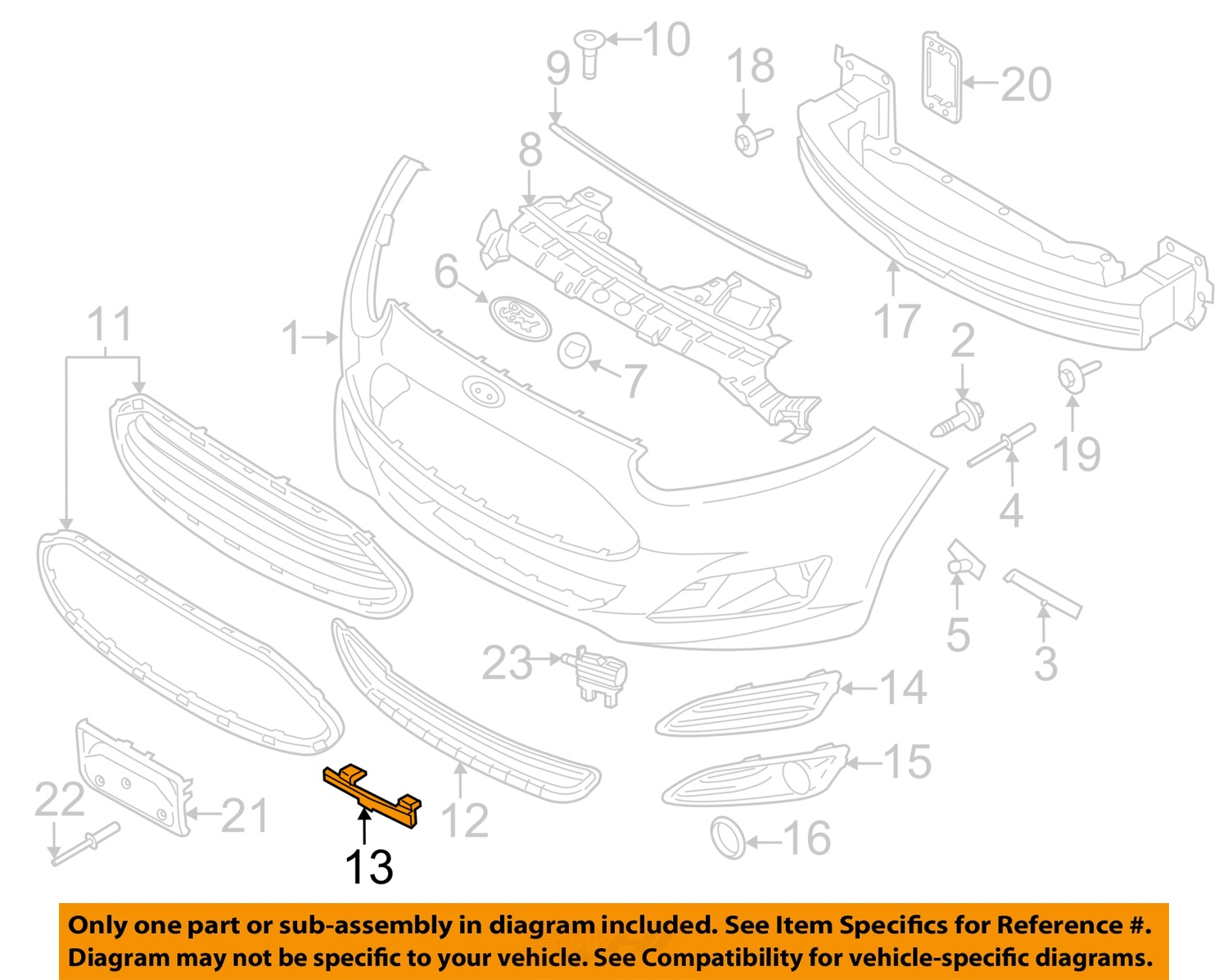 ford oem 14-16 fiesta front bumper-end cover right ... ford e series front bumper diagram ford e series fuse box #6