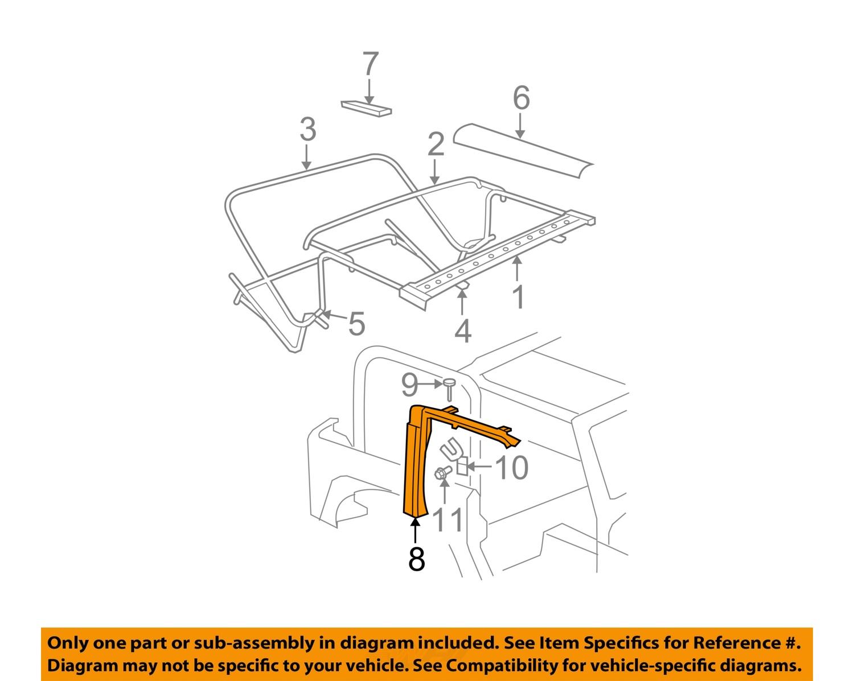 Jeep Chrysler OEM Wrangler Convertible/suave superior derecho de ...