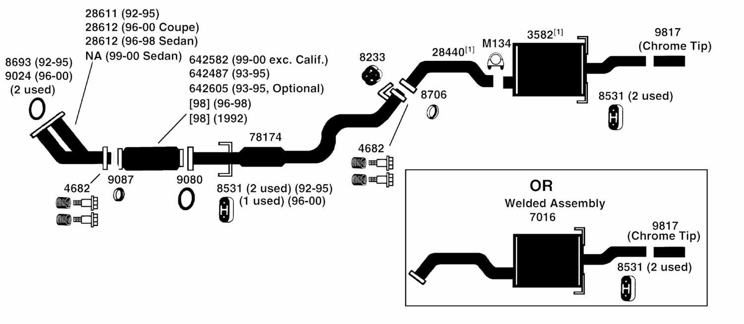 2002 honda civic exhaust system diagram