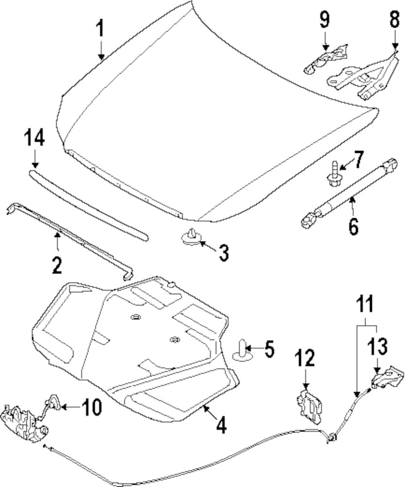 2008 Infiniti M45 Hood And Components Parts Transmission Diagrams Genuine Lock Cable Clip Inf 28945aq000