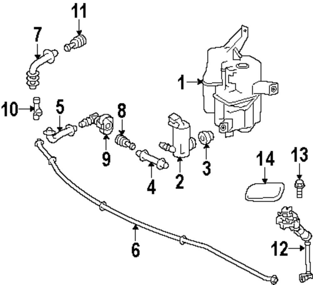 2013 Toyota Prius Washer Components Parts Diagram Genuine Actuator Cover Toy 8535347020a0