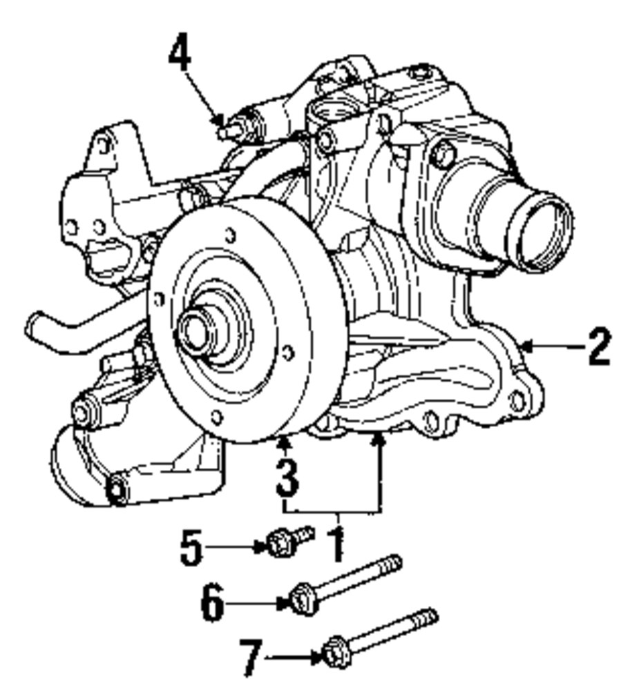 Mopar Direct Parts Dodge Chrysler Jeep Ram Wholesale Retail 1999 Ford Ranger Transfer Case Wiring Diagram Water Pump Upper Bolt