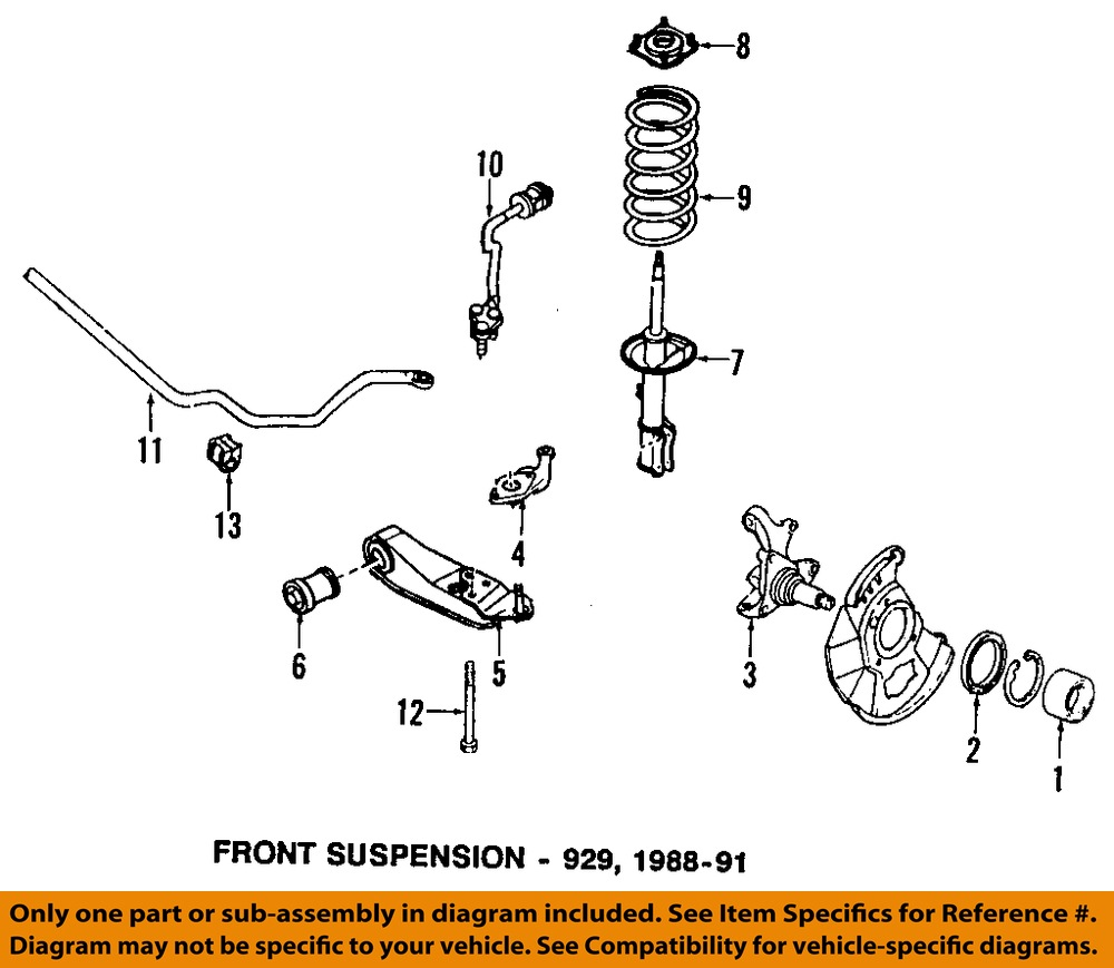 Mazda 929 Suspension Diagram Trusted Wiring Fuse Box 91 929s Oem 88 89 Front Strut H28034700f Ebay 2003 Protege 5