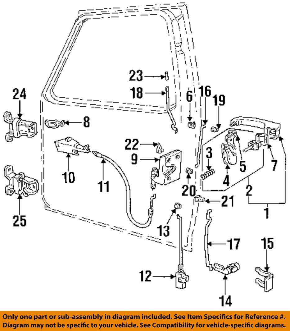 Ford oem 92 98 f 250 front door lock latch kit for Door lock parts