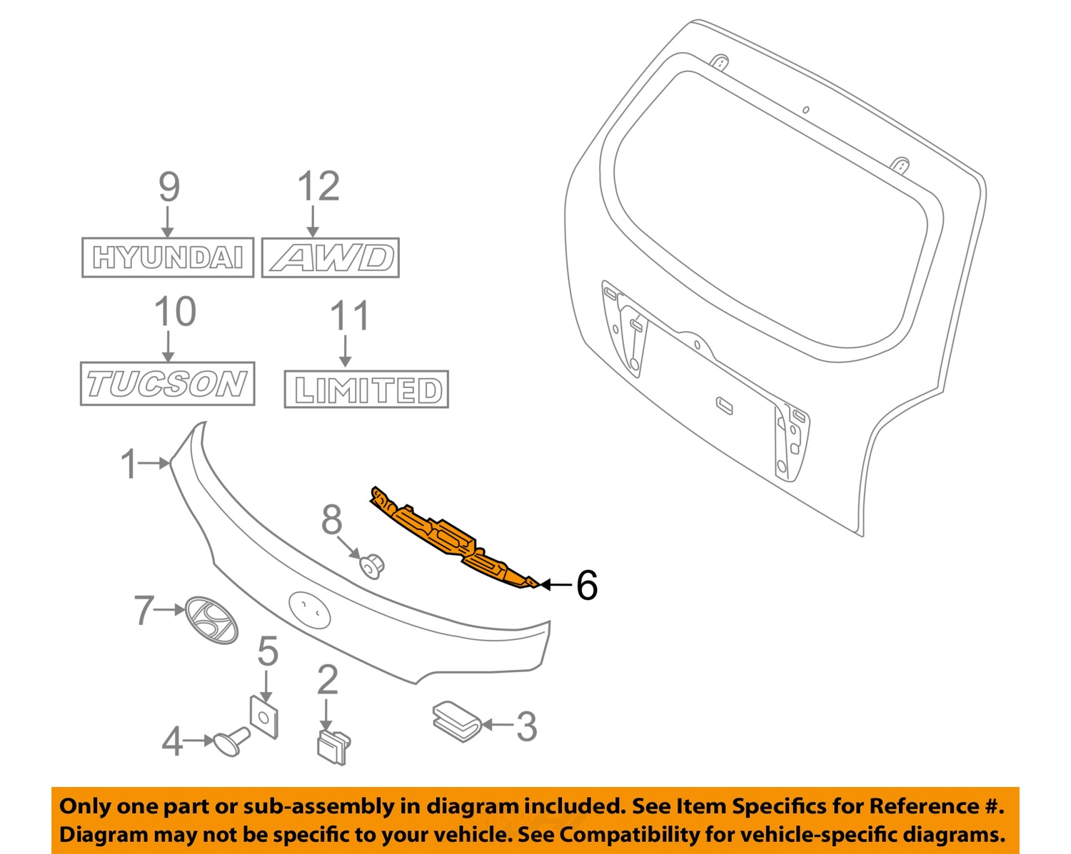hyundai oem 10 13 tucson liftgate tailgate handle cover 873722s000 rh ebay com Chevy S10 Tailgate Parts Diagram Diagram of Ford Tailgate