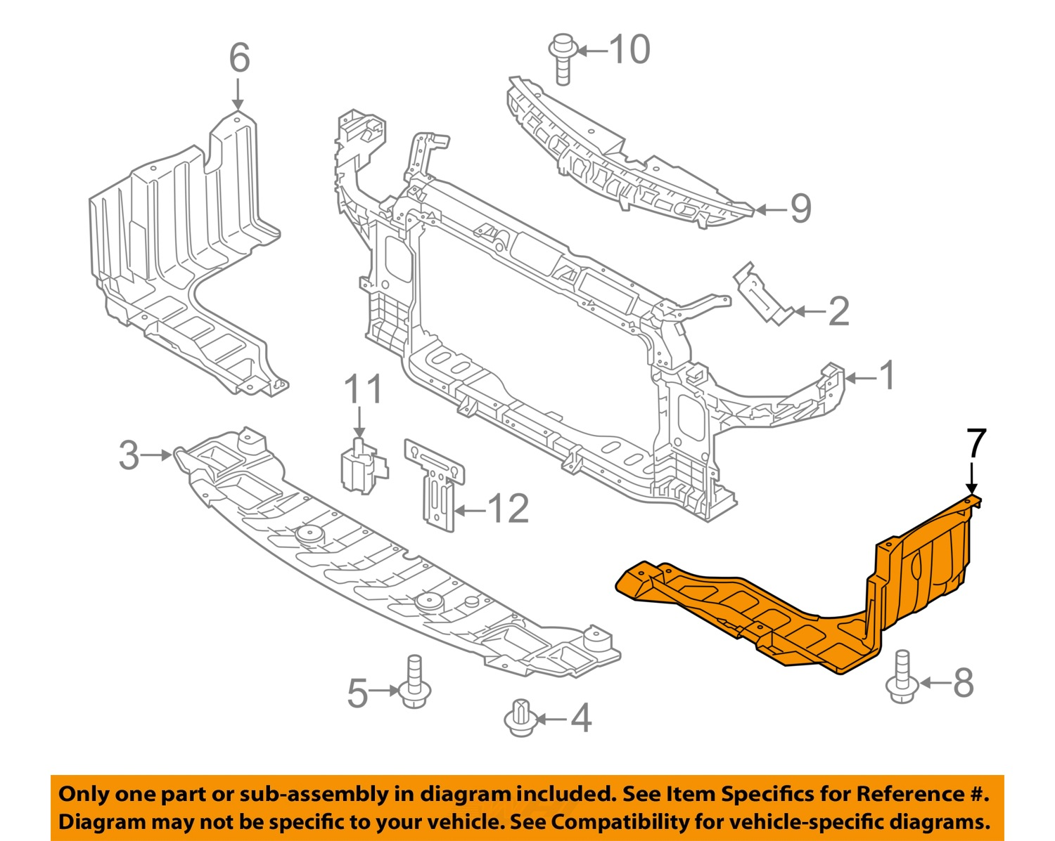 Kia Forte Engine Diagram Intake Manifold For Koup 2012 Oem Under Radiator Splash Shield Cover Left