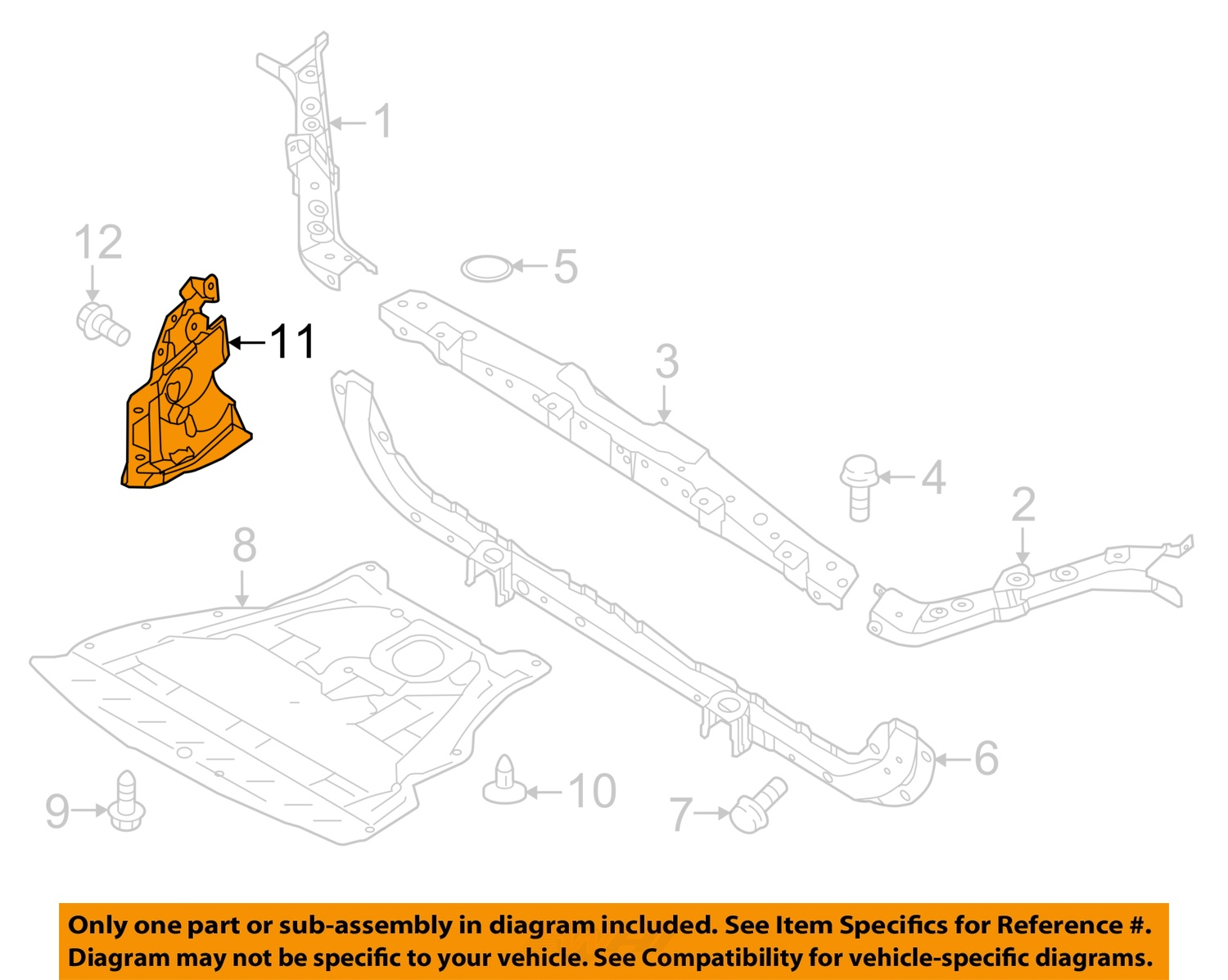 NEW RADIATOR SUPPORT UPPER CENTER TIE BAR FITS 14-17 NISSAN ROGUE 625114BC0A