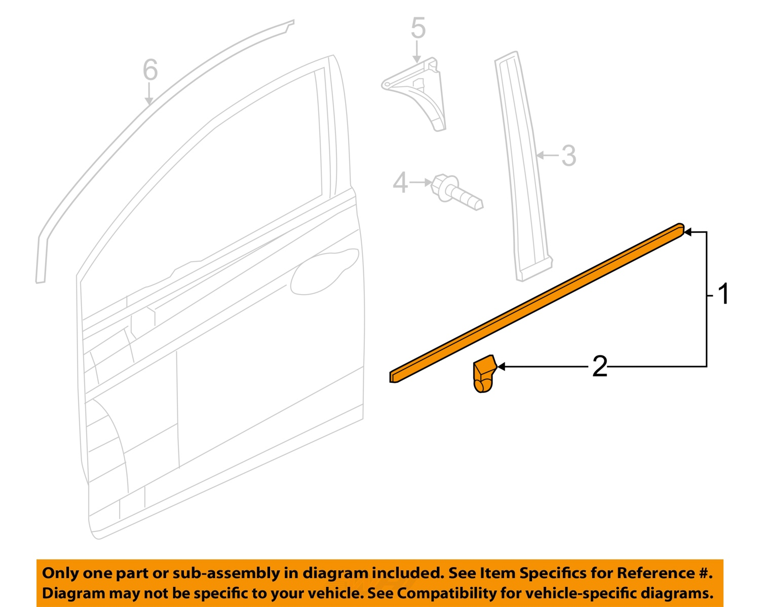 Honda oem civic door window sweep belt molding weatherstrip right 1 on diagram only genuine oe factory original item sciox Images