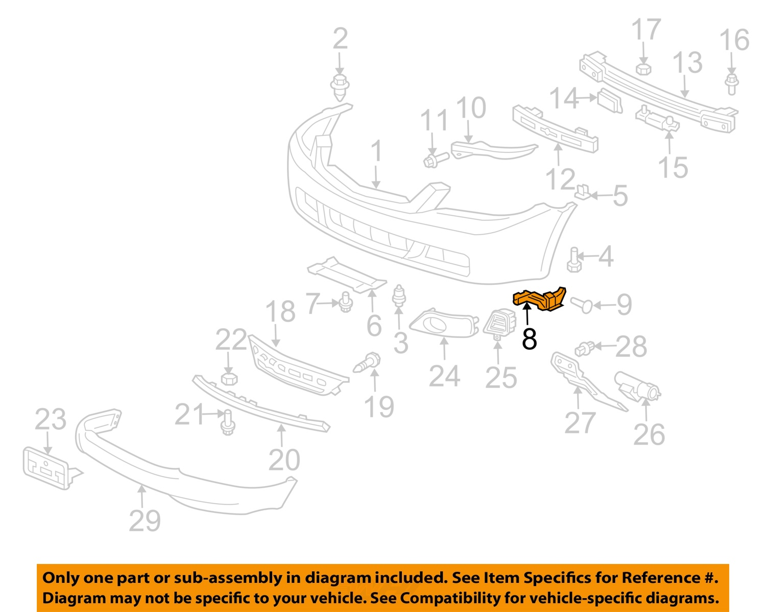 Acura honda oem 04 08 tsx front bumper spacer support bracket left 8 on diagram only genuine oe factory original item pooptronica