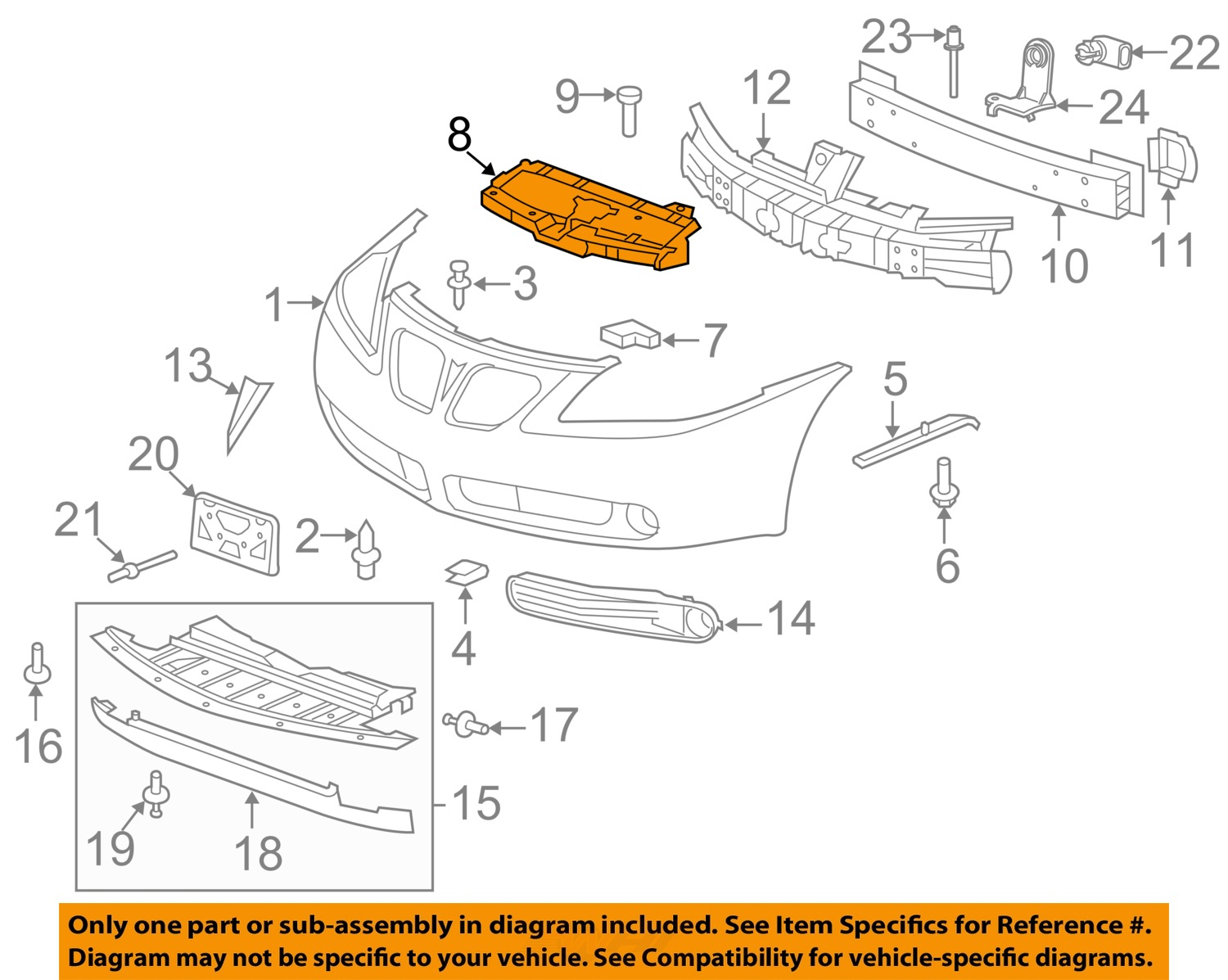 FQ05010_8Full pontiac gm oem 05 10 g6 front bumper upper support bracket pontiac g6 parts diagram at bakdesigns.co