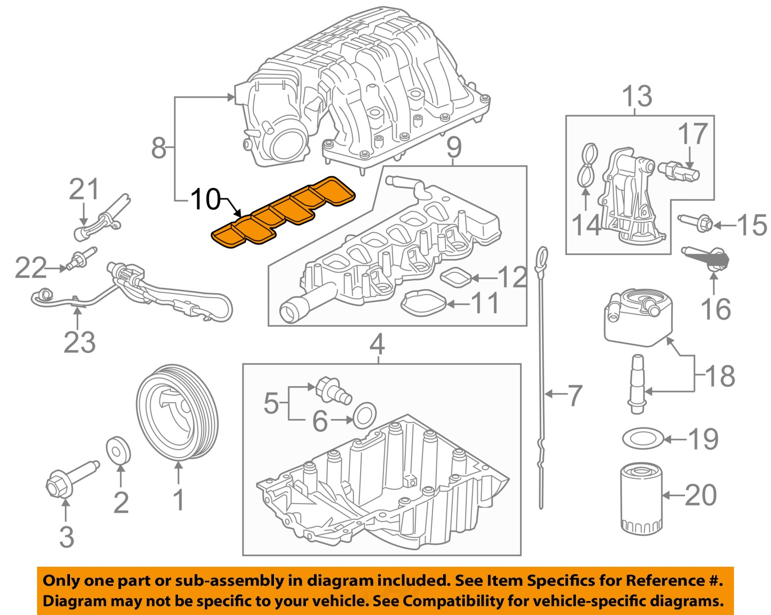 ford oem engine intake manifold gasket at4z 9h486 a factory sold rh ebay com d16y7 intake manifold diagram inlet manifold diagram
